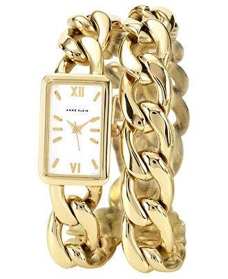 Anne Klein Watch, Women's Gold-tone Double Wrap Chain Bracelet