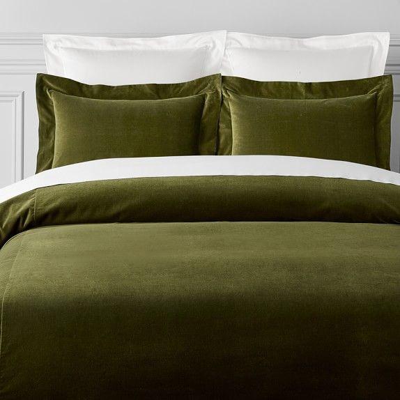 Classic Velvet Duvet Cover King Cal, Moss Green Velvet Bedding