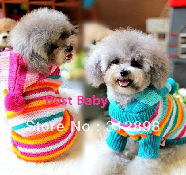 Colorful Stripe Hoodie  Sweater Pet Dog Clothing 00401 Free Shipping Pet Product US $6.99 - 9.50