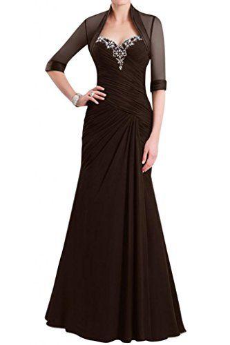Gorgeous Bride Elegant Herz-Ausschnitt Etui Mit Bolero Chiffon Lang  Abendkleid Brautmutterkleid Ballkleid -32