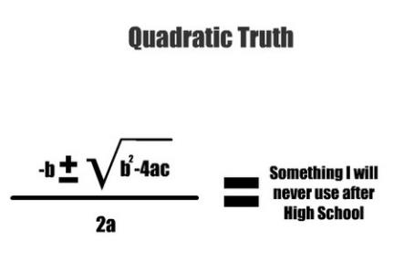 "For those not familiar...A quadratic equation is a second-order polynomial equation in a single variable ""x"" and ""a"", ""b"" & ""c"" are constants (ax2 + bx + c = 0..now ax2 is ax squared). with ""a"" not= 0. Because it is a second-order polynomial equation, the fundamental theorem of algebra guarantees that it has two solutions. These solutions may be both real, or both complex."