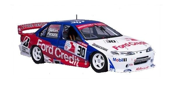 1:18 Scale. Glenn Seton and David Parsons #30 Glenn Seton Racing Ford EF Falcon 1996 AMP Bathurst 1000 Pole Winner. This model features opening doors, boot and bonnet to reveal detailed engine. Comes with certificate of authenticity signed by Glenn Seton.   Limited Edition of TBA.  SRP: $230.00  Model is due 1st quarter of 2016