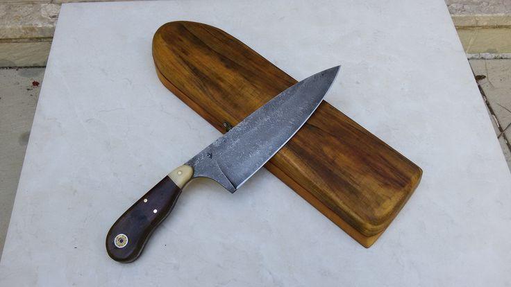 Faca chefe - Excelente faca em aço 5160 forjada a mão Peça única