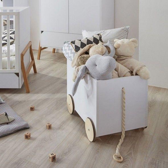 Coffre A Jouets Sur Roulettes Strom Blanc Style Scandinave En 2020