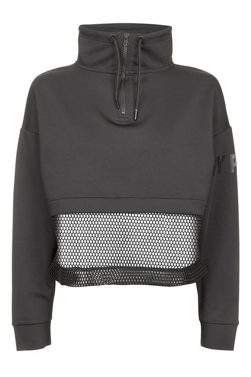 Rework your sporty layers with this zipped funnel neck sweatshirt. Cut with ventilating mesh panels, it is an ideal top layer for your outdoor workout this season. By Ivy Park.
