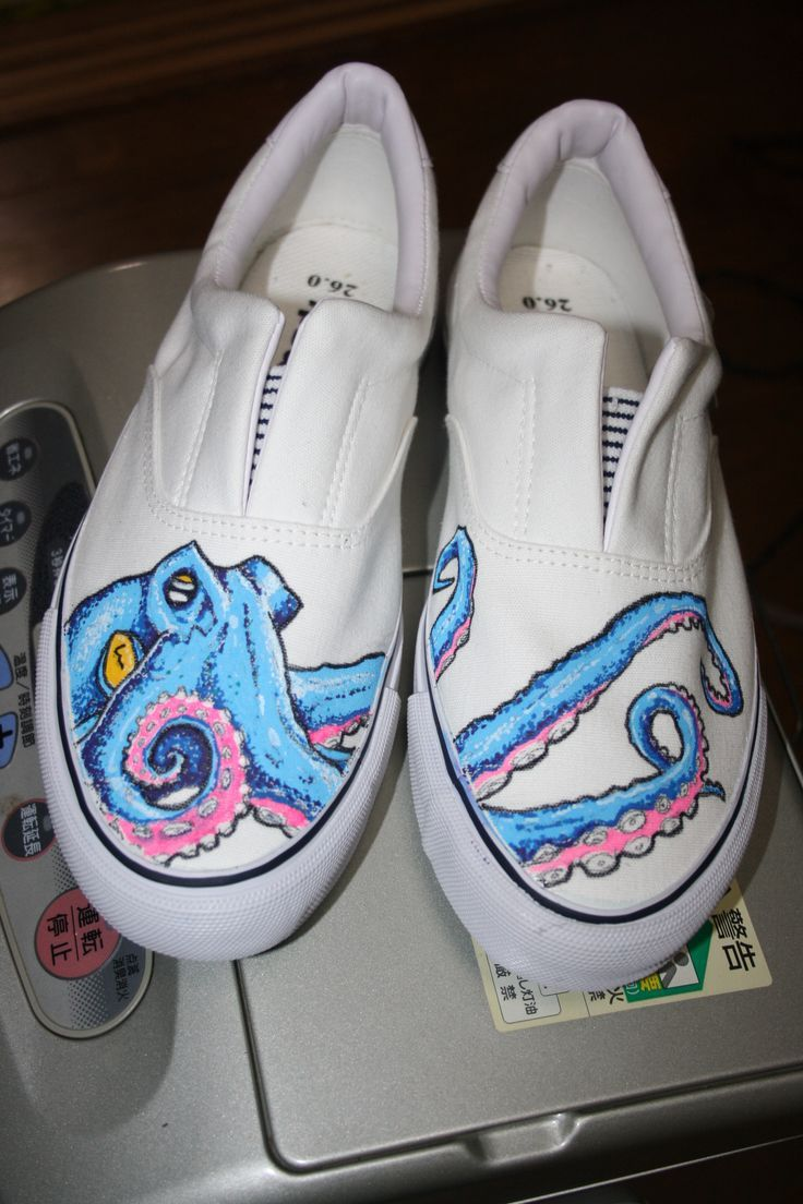 Personalized Shoes White Converse Octopus Hand Painted Canvas Sneaker