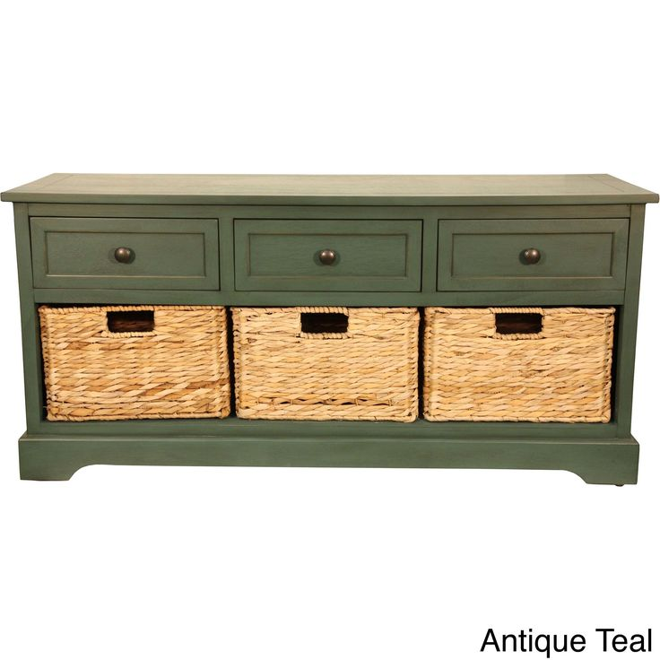 Decor Therapy Montgomery Storage Bench with Woven Baskets (Green) (Wood)