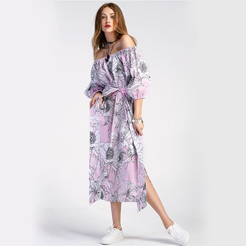 Lantern Sleeve Vertical Striped Dress Floral Off the Shoulder Women Summer Dresses Bardot Sexy Casual Beach Dress Like if you are Excited! Visit us