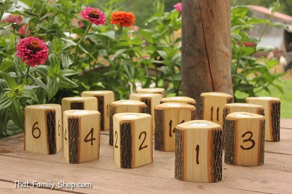 Rustic Wedding Table Number Event Place Seating Setting Table Decoration Candle Table Centerpiece
