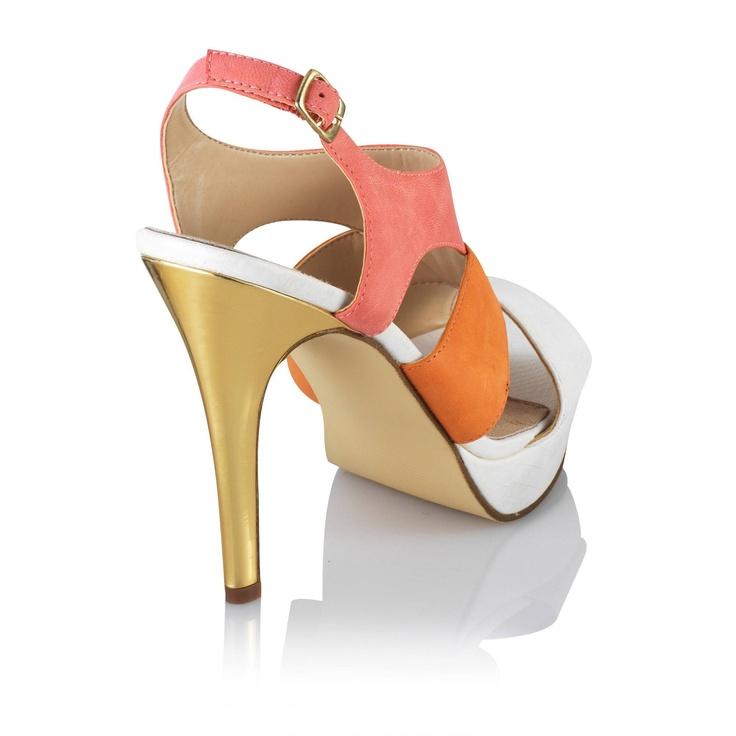 Sandales tricolores bi-matière à talons dorés