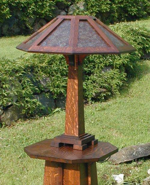 mica wood lamp | mission craftsman arts and crafts mica lamp