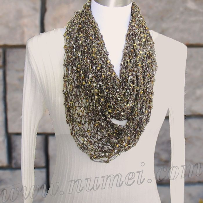 Knitting Pattern Ribbon Yarn Scarf : 25+ best ideas about Ribbon Yarn on Pinterest Crochet necklace pattern, Adj...
