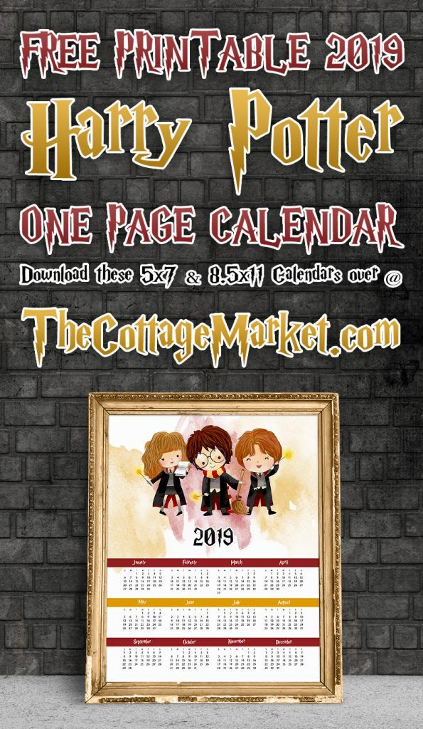 Free Printable 2019 Harry Potter One Page Calendar Best Of The