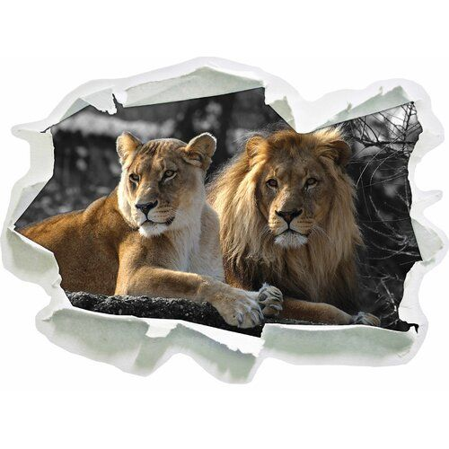 attentive lion couple wall sticker home loft concept size on wall stickers for home id=28799