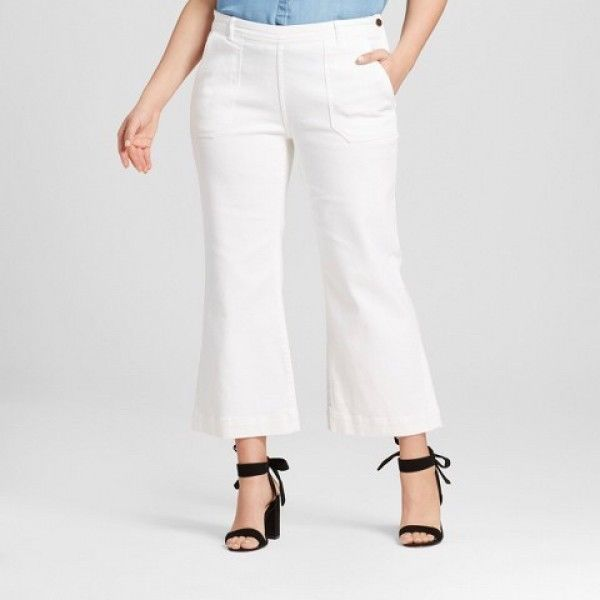 Womens High Waist Cargo White Jeans Flare Leg 10 14 Who What Wear $35 OCFO