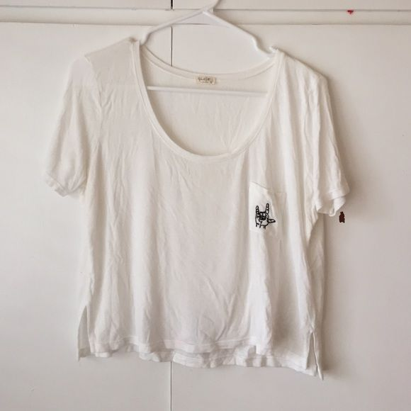 *1 HR SALE* BRANDY MELVILLE rock sign crop top Brandy Melville Rock Sign Crop Top - worn once. Super rare, no longer sold in stores. Size Small. Brandy Melville Tops Crop Tops
