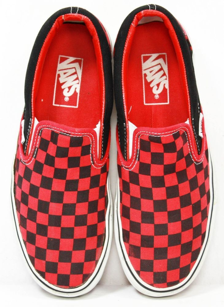 vans red black checkerboard slip ons