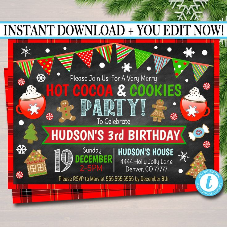 EDITABLE Hot Cocoa & Cookies Xmas Party Invitation Kids Christmas Birthday Party Invite Holiday Cookie Party Digital Plaid INSTANT DOWNLOAD