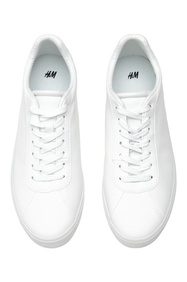 Trainers White Imitation Leather Ladies H M Gb Sneakers White White Sneakers Women Lacing Sneakers
