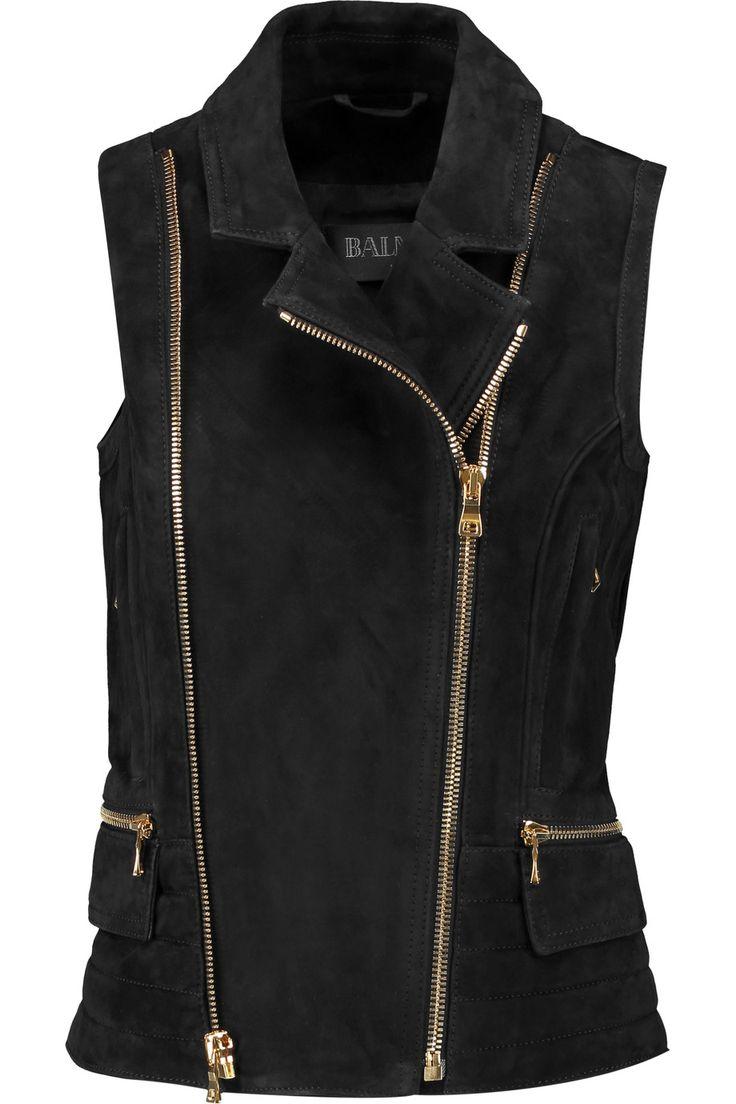 BALMAIN Asymmetric suede vest. #balmain #cloth #vest