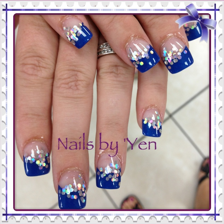#pinyen34 #french #nail Art . Simple Blue Tips With Silver