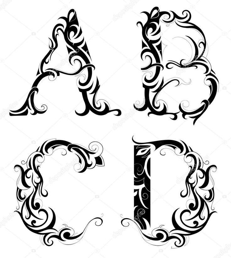 Татуировки буквы с узором