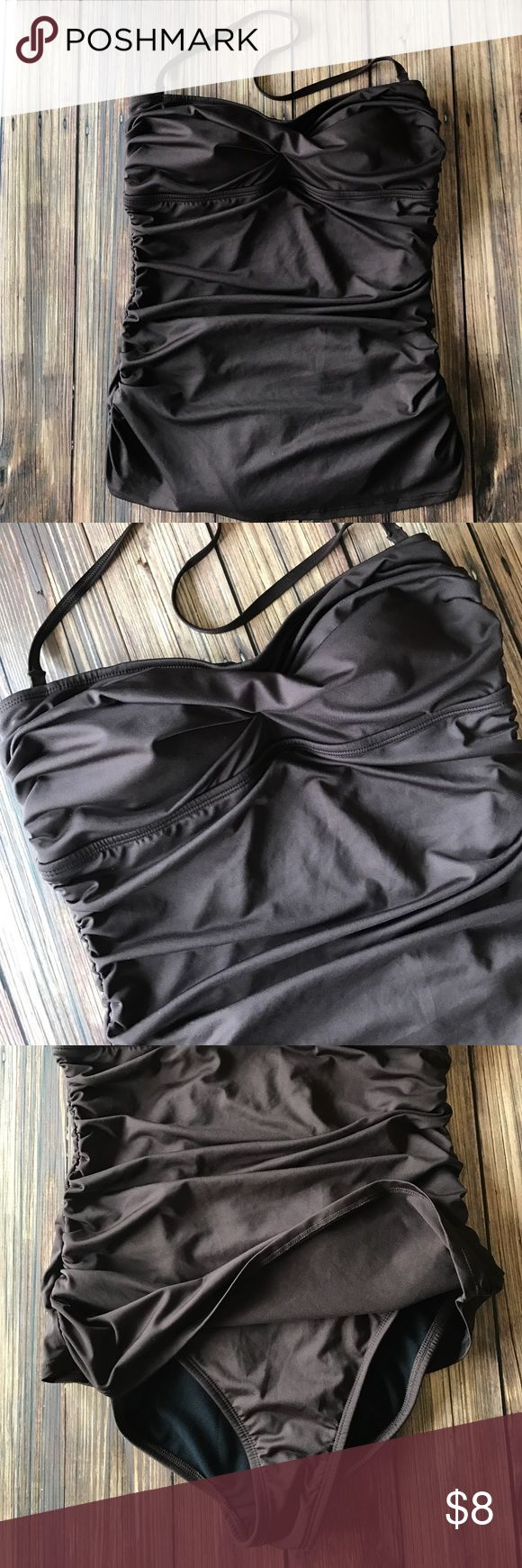 Jantzen Brown One Piece Tie Back Swimsuit Size 12 Jantzen once piece chocolate brown swimsuit with tie back for excellent fit! Side rouched and slightly skirted. Very flattering! Size 12. Bundle and save! Jantzen Swim One Pieces