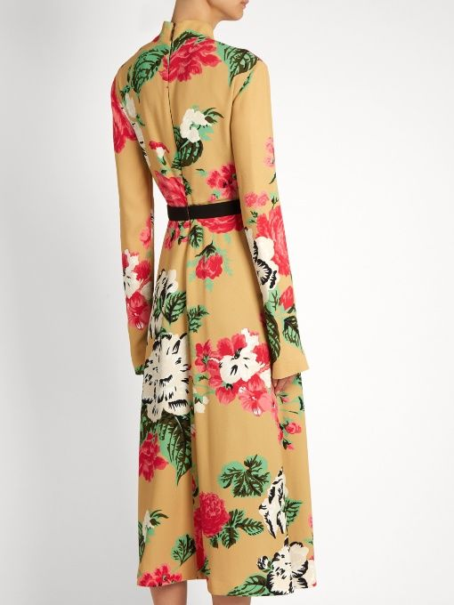 Find Msgm High-neck Floral-print Crepe Dress Only at Modalist