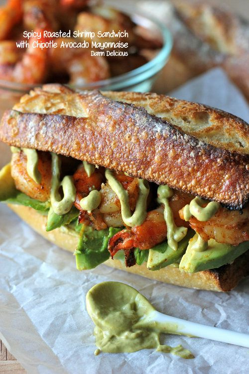 Spicy Roasted Shrimp Sandwich with Chipotle Avocado Mayonnaise from @Chung-Ah Rhee