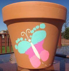 Kids Butterfly Footprint Flower Pot Craft