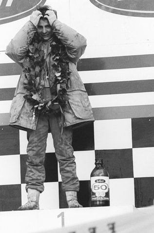 Gilles Villeneuve (CDN) Ferrari, celebrates his first GP win on the podium in front of his home crowd. Canadian Grand Prix, Rd 16, Montreal, Canada, 8 October 1978.