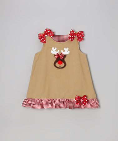 Take a look at this Khaki Corduroy Reindeer Jumper - Infant, Toddler & Girls by Wiggles and Giggles on #zulily today!
