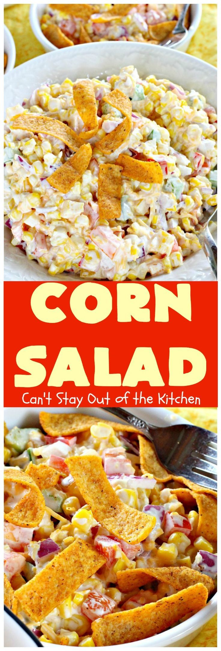 INGREDIENTS 1 can whole kernel corn drained 1/2 cup mayonnaise or Miracle Whip 1/2 cup red onion diced fine 1 cup bell pepper 1/3 each of red, orange and yellow 1 cup shredded cheese 1/4 7-oz. bag Chili-Cheese Fritos