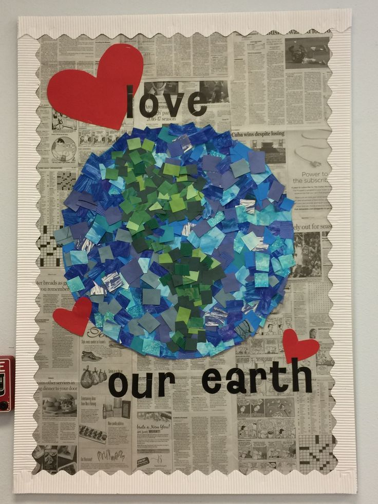 April bulletin board- students decorate blue and green squares and you put together into world