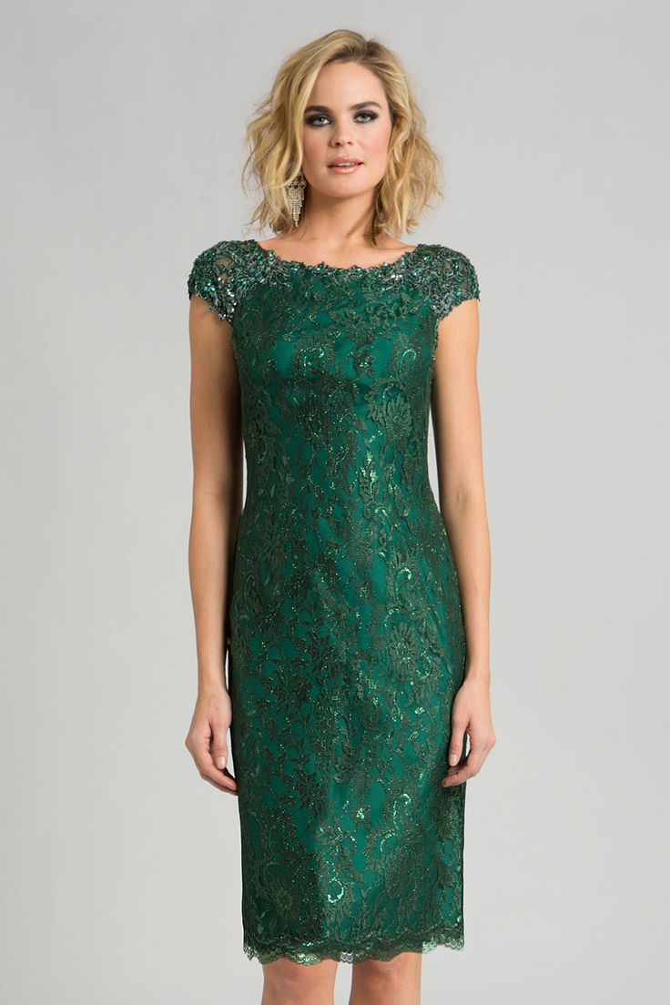 Feriani Couture - 18389S Beaded Floral Sheath Dress In Green