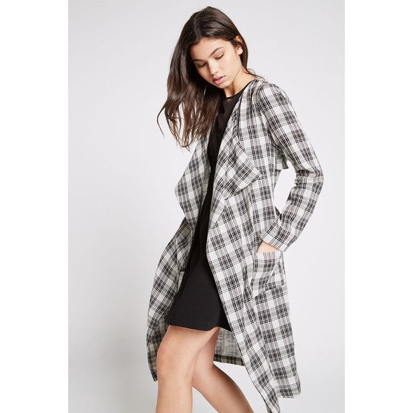 BCBGeneration Plaid Kimono Trench Coat (7,725 INR) ❤ liked on Polyvore featuring outerwear, coats, black, bcbgeneration coats, bcbgeneration, cotton coat, lightweight trench coat and trench coat