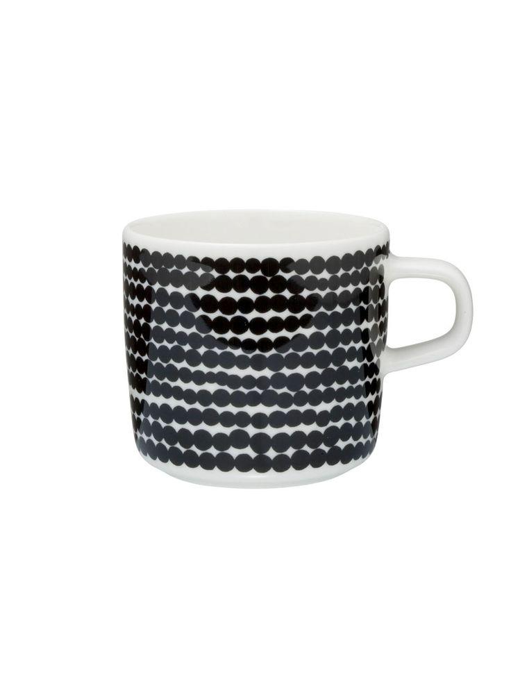 Oiva/Siirtolapuutarha-kahvikuppi (valkoinen,musta/räsymatto) |Sisustustuotteet, Keittiö, Posliinit, Kupit ja mukit | Marimekko