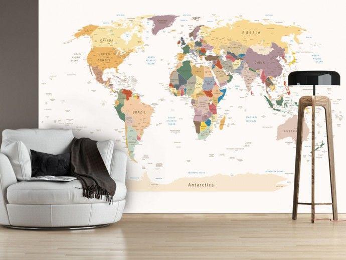 Carta da parati Mappa del mondo Mappa del mondo, Carta