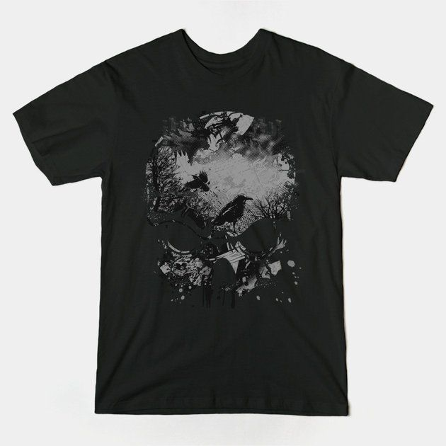 Cool Wicked Skull with Crows Tshirt