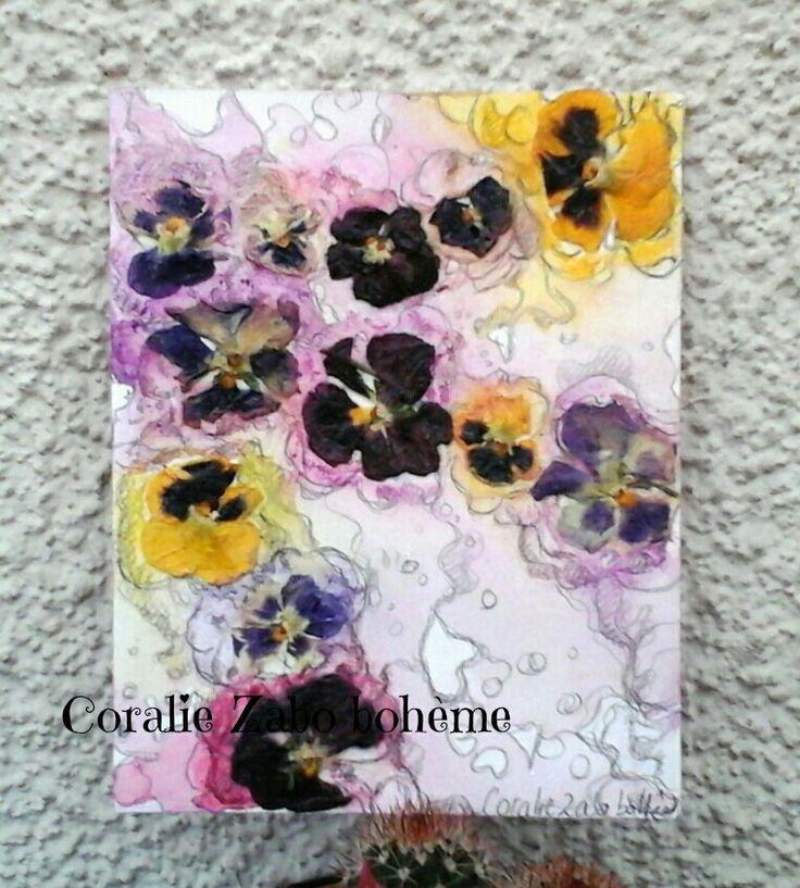 Carte fleurs tendres pensées en peinture aquarelle et fleurs séchées : Cartes par coralie-zabo-boheme
