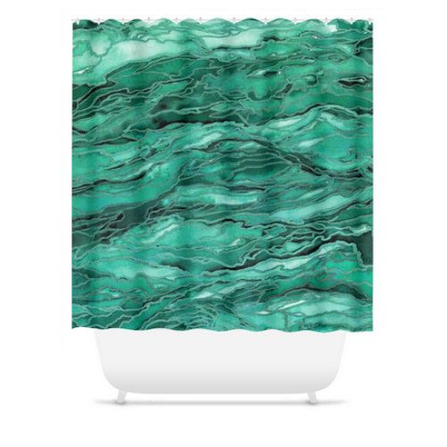 MARBLE IDEA EMERALD Green Nature Marble Pattern Waves Abstract Shower Curtain by EbiEmporium, #showercurtain #shower #bathroom #homedecor #ocean #marble #waves #coastal #agate #marbled #colorful #moderndecor #ebiemporium