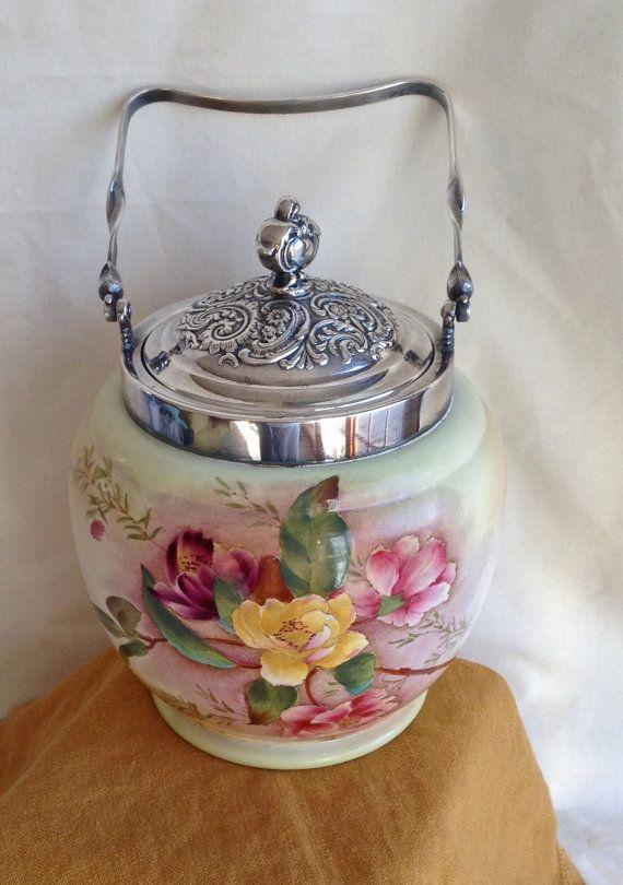 Vintage Biscuit Barrel Carlton Ware MINT Silver by KathyKupboard