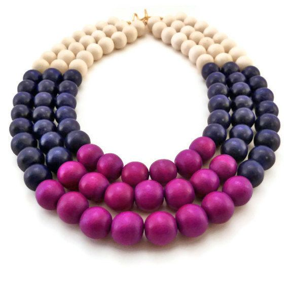 #jewelry #diy Wood Multi Strand #Necklace, via Etsy. I love these colors.