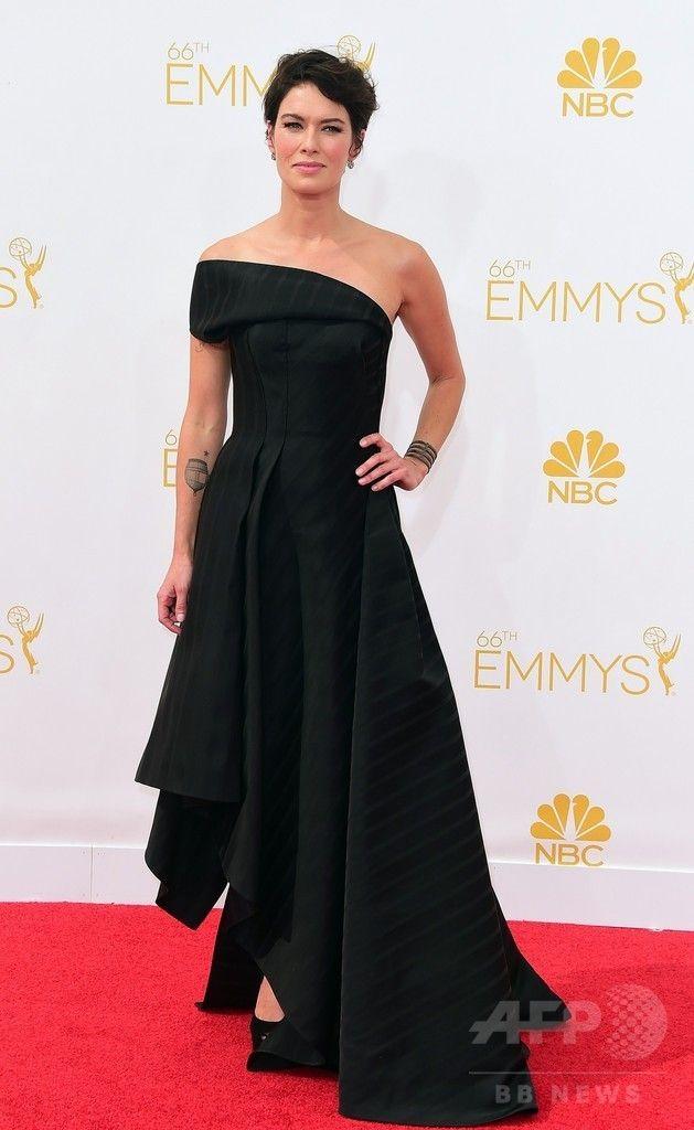 第66回プライムタイム・エミー賞(Primetime Emmy Awards)のレッドカーペットに登場した女優レナ・ヘディ(Lena Headey、2014年8月25日撮影)。(c)AFP/Frederic J. Brown ▼26Aug2014AFP 【写真】第66回エミー賞のレッドカーペット http://www.afpbb.com/articles/-/3024084