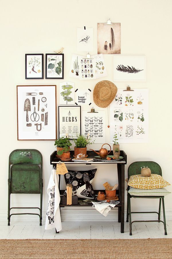 Botanical art prints gallery wall