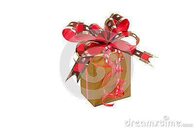 Golden gift box with golden red ribbon with clipping path over white background
