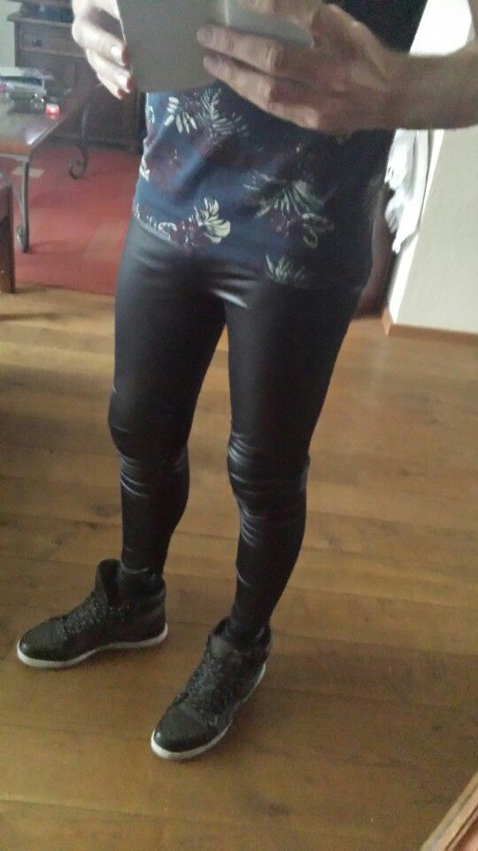 I Love It Black Shiny Meggings Spray On Skinny Jeans