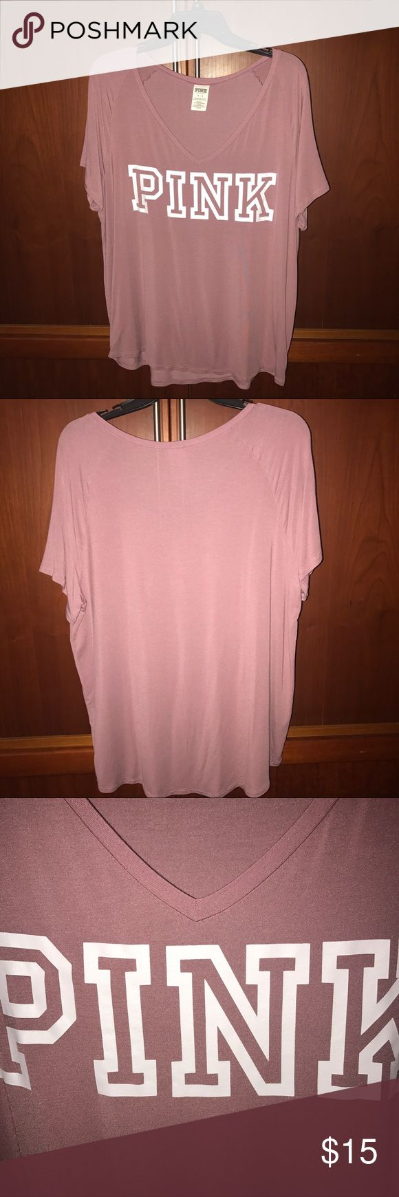 Super soft slouchy v-neck tee Worn twice. Like new condition. No flaws and lettering is still intact. Super comfy and soft just like the name of it! PINK Victoria's Secret Tops Tees - Short Sleeve