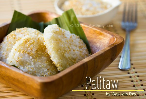 Palitaw- sweet rice cake, or a sticky rice dumpling made of sweet rice flour... @Renee Peterson Peterson King Soileau with Ray