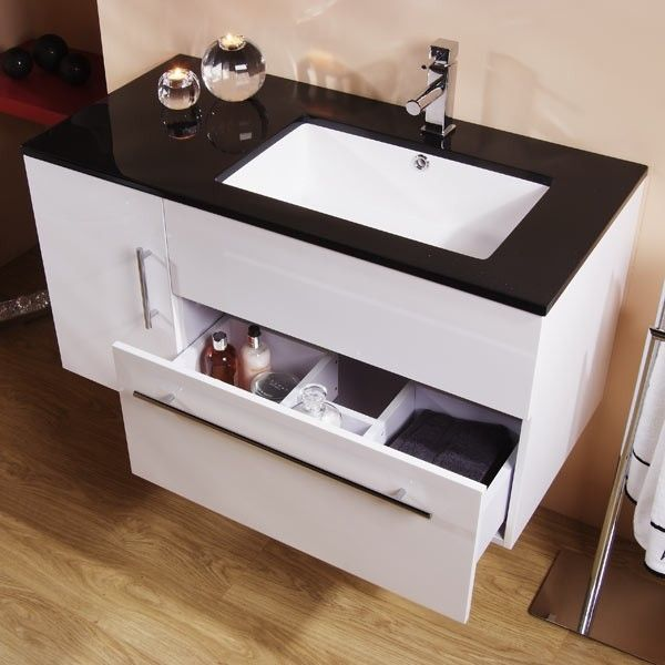 Eden 100 Wall Mounted Vanity Unit Black And White